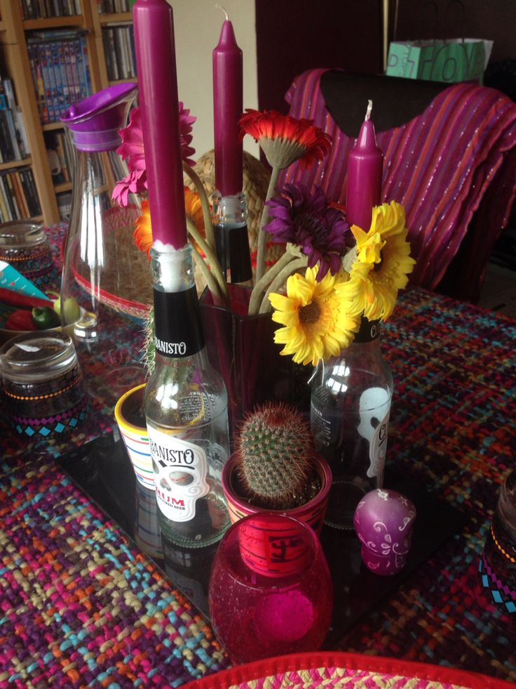 Mexican theme party. Sombreros. Sugar skulls. Flowers. Cactus. Centre piece. Table decorations