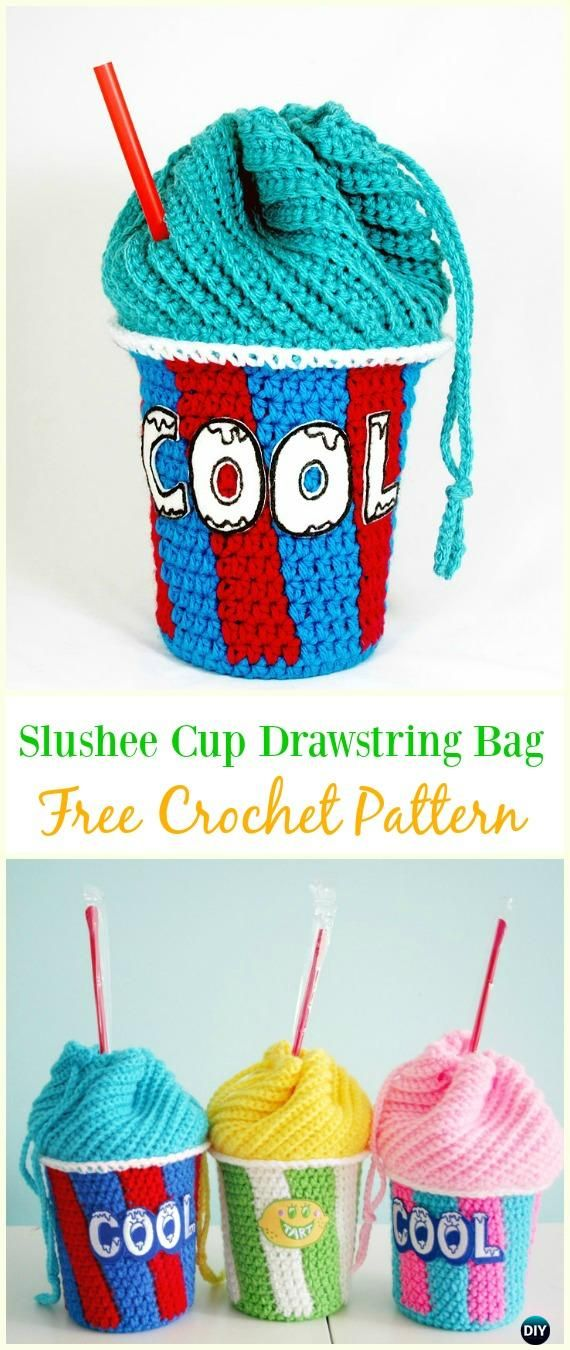 Crochet Drawstring Bags Padrões Livres & Tutoriais DIY