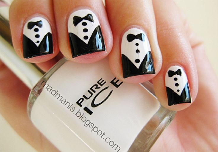 Unique Ideas of DIY Nail Art with Tuxedo Image