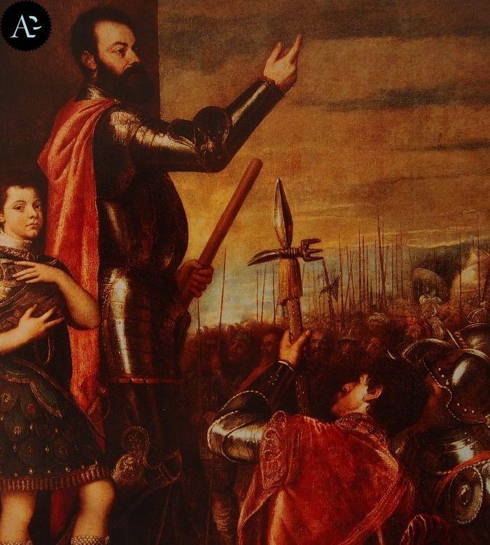 Tiziano Vecellio | Allocuzione di Alfonso d'Avulso marchese del Vasto