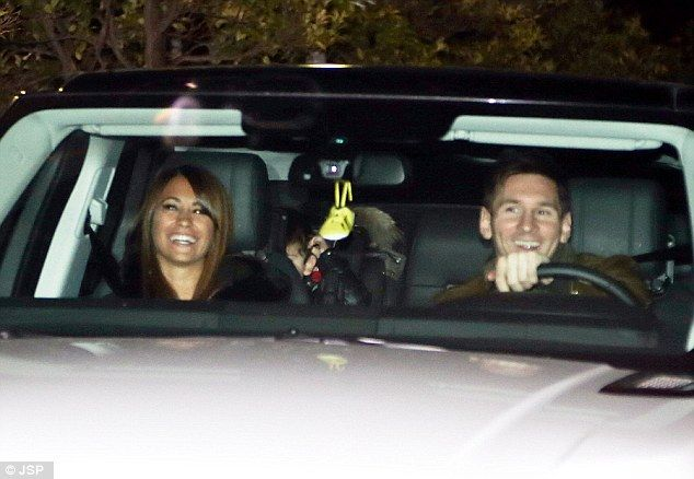 Lionel Messi (right) and girlfriend Antonella Roccuzzo attended the party at the King Don Juan Carlos Hotel