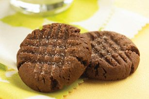 Soft & Chewy Chocolate Peanut Butter Cookies Recipe - Kraft Recipes made with devil's food cake mix!