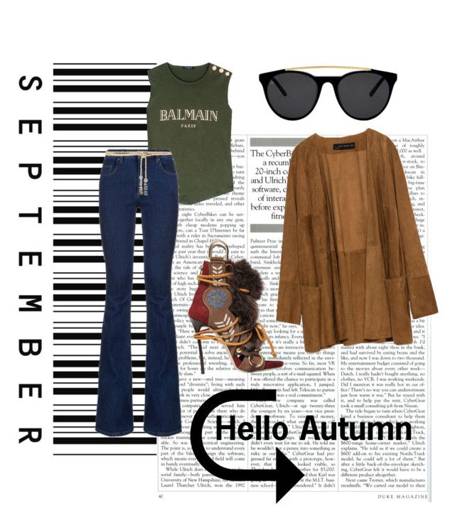 """Hello Autumn"" by doubleblonded on Polyvore featuring Zara, Dsquared2, Smoke & Mirrors, Balmain, dVb Victoria Beckham and Valentino"