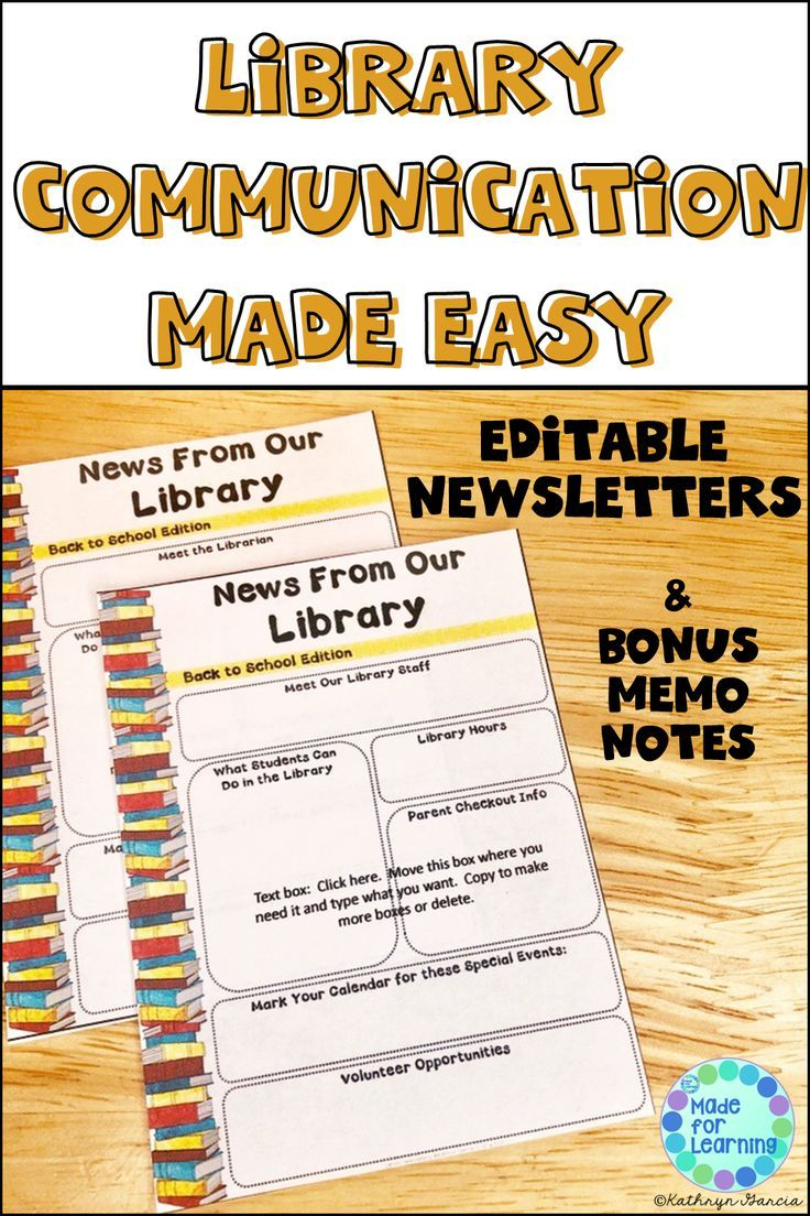 Newsletter Template For The School Library Editable With Images