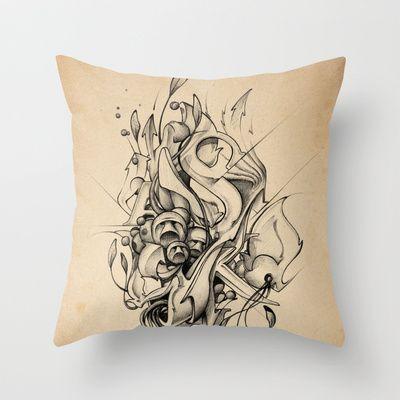 DinamInk #01 Throw Pillow by Original Asker - $20.00