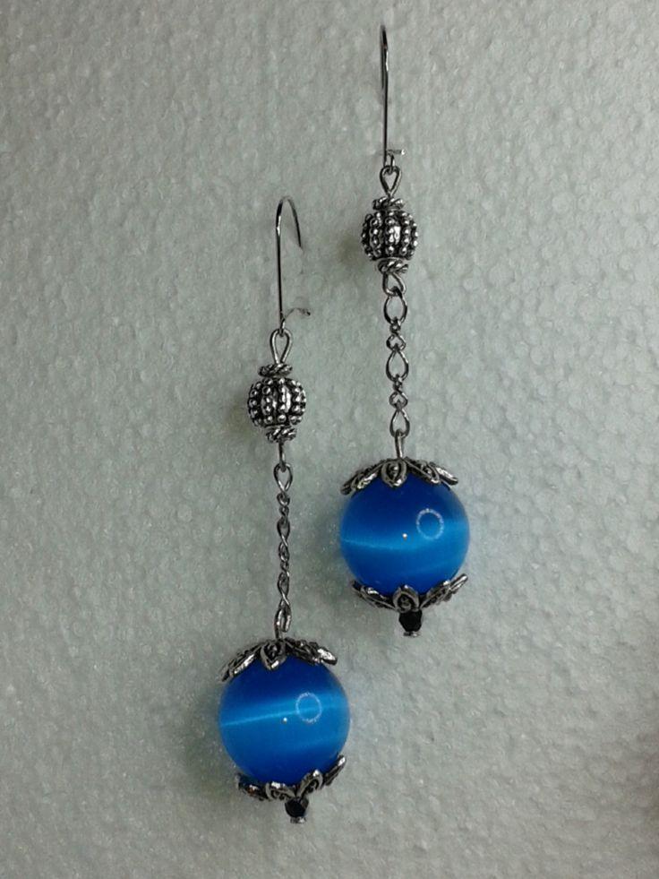 kék golyós fülbevaló - blue earring