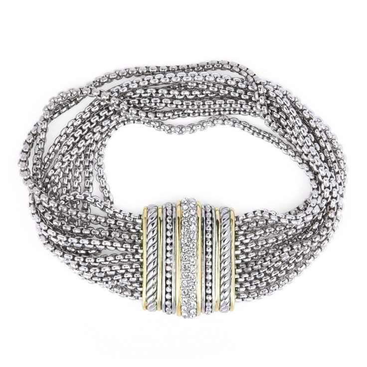 Multi strand box chain Bracelet. Due to the rows of chains, it forms a wrap style of bracelet.   Secured with magnetic clasp for easy wear. Very elegant piece.