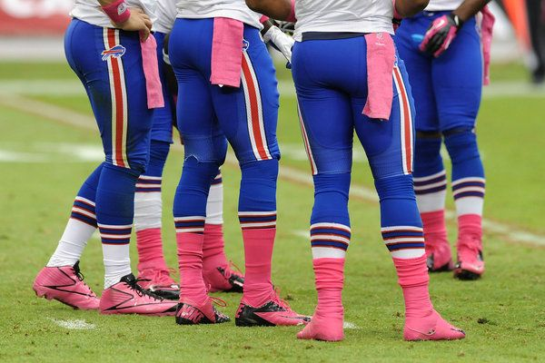 Pink is showing up everywhere, even on members of the Buffalo Bills football team during a game Saturday against the Arizona Cardinals for Breast Cancer Awareness Month, which calls attention to that potentially deadly illness and raises awareness about all women's health issues.