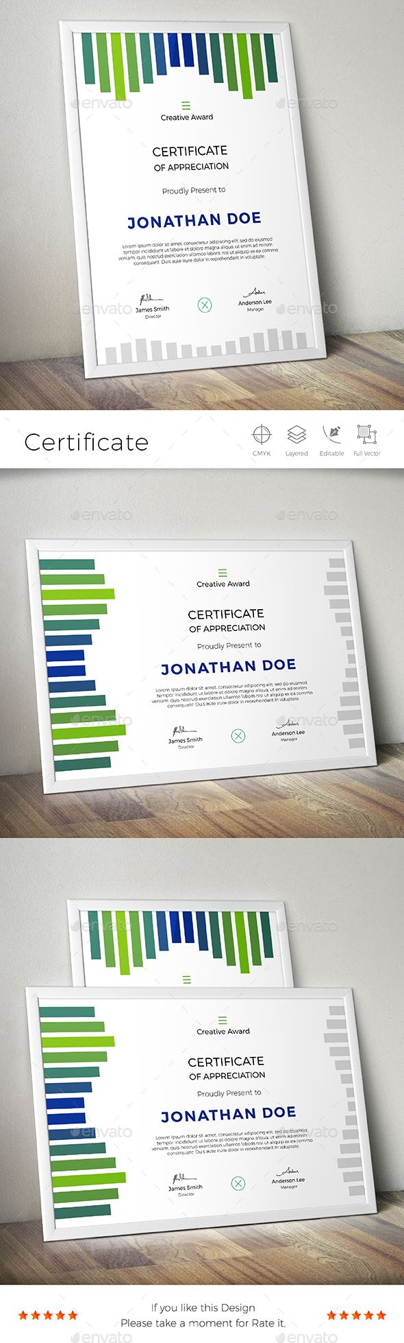 Certificate  — EPS Template #branding #left side design #certificate…