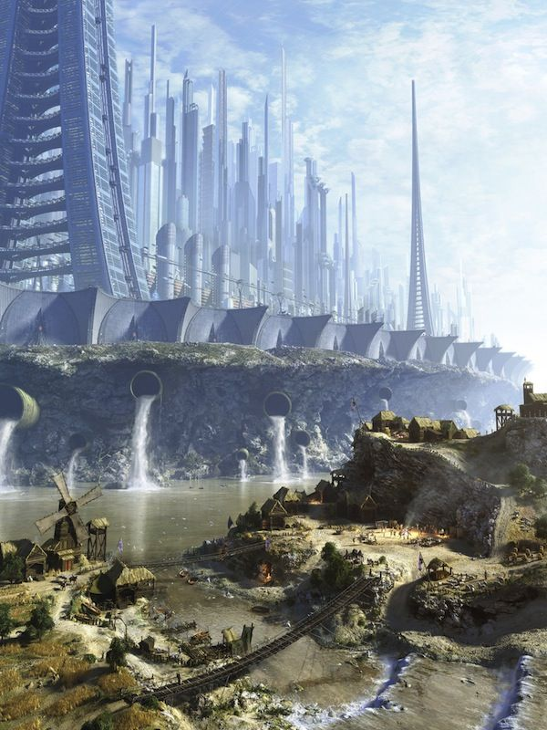 Concept Art Writing Prompt: The Futuristic City Above and the Primitive Village Below
