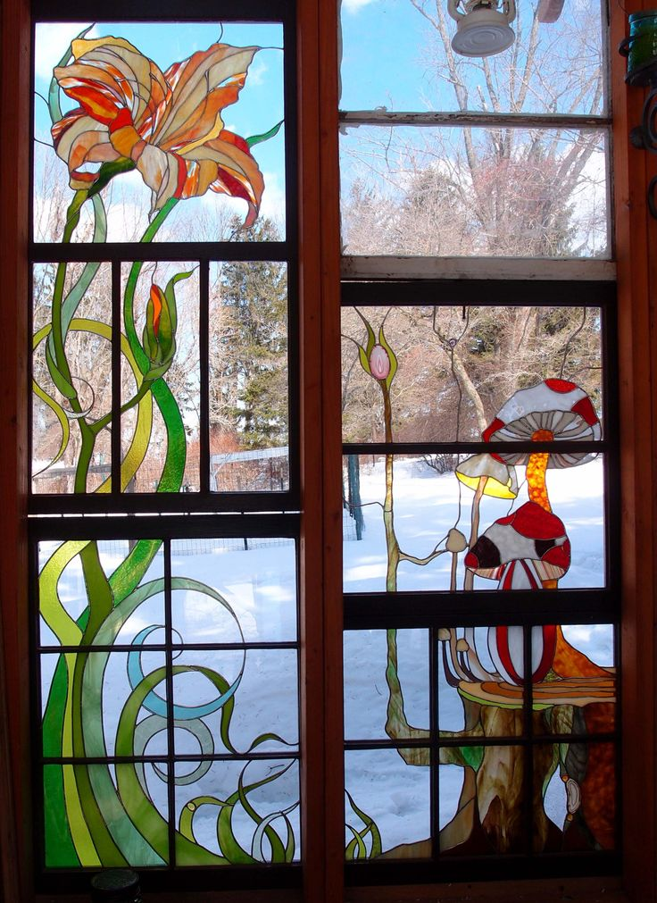 Cabin Glass Window : Images about stained glass in old window frames on