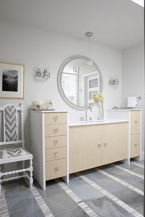 more modern than I like but the concept of the drawers on either side of vanityis a lovely idea.  sarah richardson sarah 101 neutral master ensuite