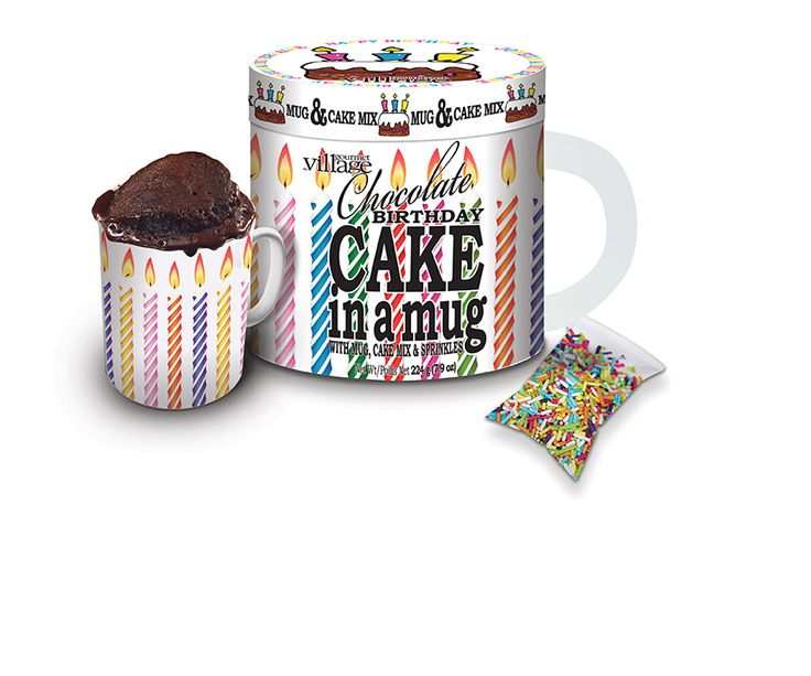 Birthday Cake in a Mug comes complete with a keepsake mug, a pouch of cake mix to make 2 cakes and the sprinkles to decorate the top. From Gourmet du Village