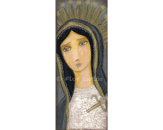 Virgen de Dolores  Our Lady of Sorrows  Print from  by FlorLarios, $15.00