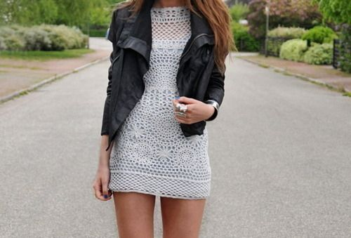 leather jacket with a knit dress