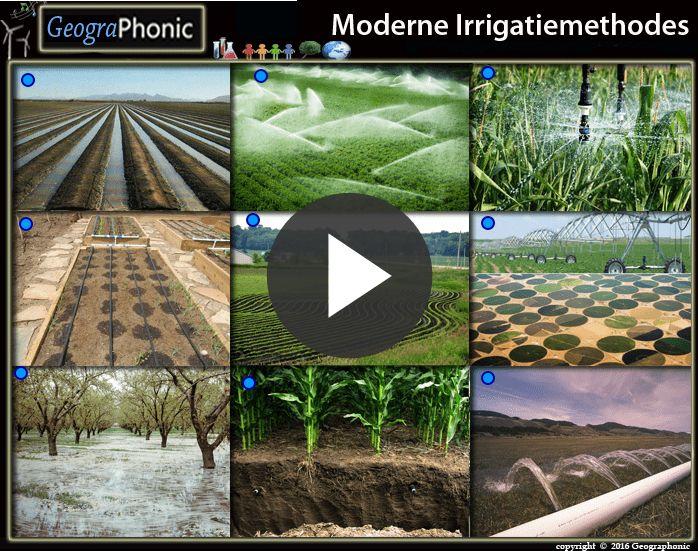 Dit is een oefening voor aardrijkskunde.  Speel het spel over verschillende moderne irrigatiemethodes.  cirkelirrigatie, ' Voren-irrigatie Sproeiers Waterkanonnen beregening met microsprinklers, Drones met precisiesprinklers, contourploegen, druppelirrigatie, Kommen-irrrigatie, Ondergrondse Druppelirrigatie, Moderne Irrigatiemethodes
