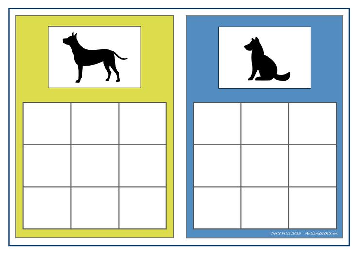 Board for the standing/sitting dogs sorting game. Find the belonging tiles on Autismespektrum on Pinterest. By Autismespektrum