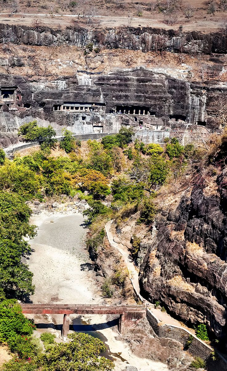 There are a total of 34 monasteries and temples in Ellora, belonging to three different religions - Hinduism, Buddhism and Jainism. The Hindu/Buddhist caves of Ajanta were discovered by British officers in 1819. The Ajanta Caves were first mentioned in the writings of the Chinese pilgrim Hiuen Tsang who visited India between A.D 629 and 645. The caves at Ajanta are older than those at Ellora.