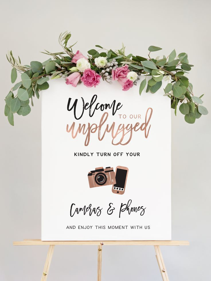 Our Unplugged Wedding Ceremony Sign is the perfect way to let guests know about your Unplugged Ceremony. Modern script fonts combined with illustrations, this wedding welcome sign is chic yet fun.