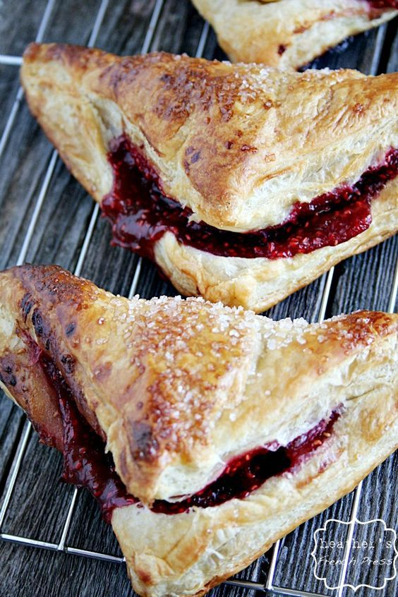 Puff pastry Berry  Turnovers:   Sweet! Puff pastry + raspberries (or any in season fruit or frozen fruit) + vanilla + cornstarch + sugar