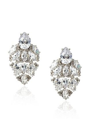 CZ by Kenneth Jay Lane Vintage-Inspired Shield Clip-On Earrings