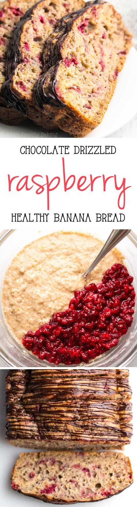 Chocolate Drizzled Raspberry Banana Bread -- this healthy breakfast recipe tastes like dessert! Just 118 calories & full of fruit!
