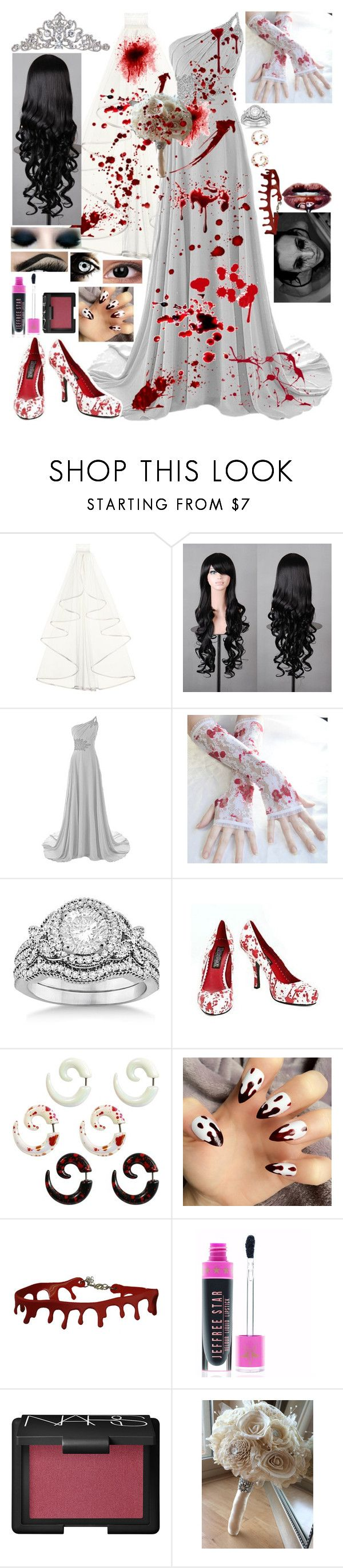 """""""Halloween Costume Idea: Zombie Bride"""" by i-am-the-one-and-only ❤ liked on Polyvore featuring TIARA, Allurez, NARS Cosmetics and Sola"""