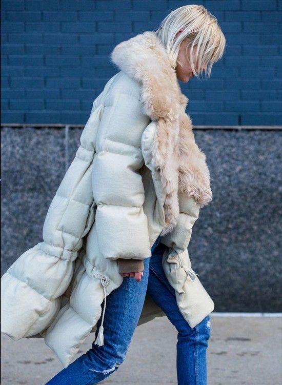 How cool girls wear long puffer coats for winter