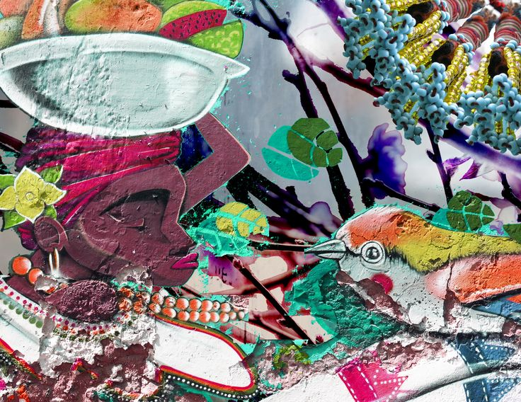 Woman with a Basket. Digital collage art by Yasmine Dabbous.
