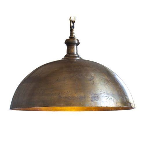 Industrial Style Dome Pendant Light in Brass Finish at Destination Lighting