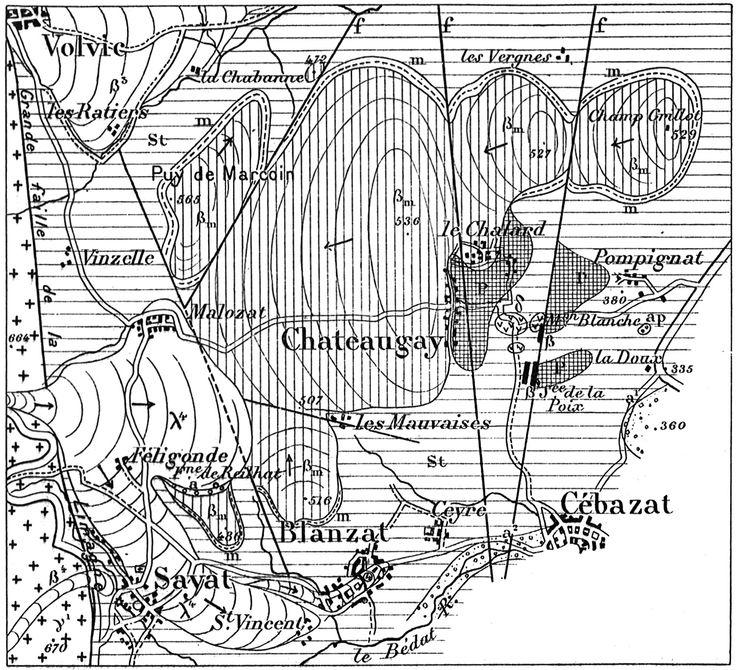 Carnets géologiques de Philippe Glangeaud | Cartographie du Plateau de Chateaugay par Glangeaud