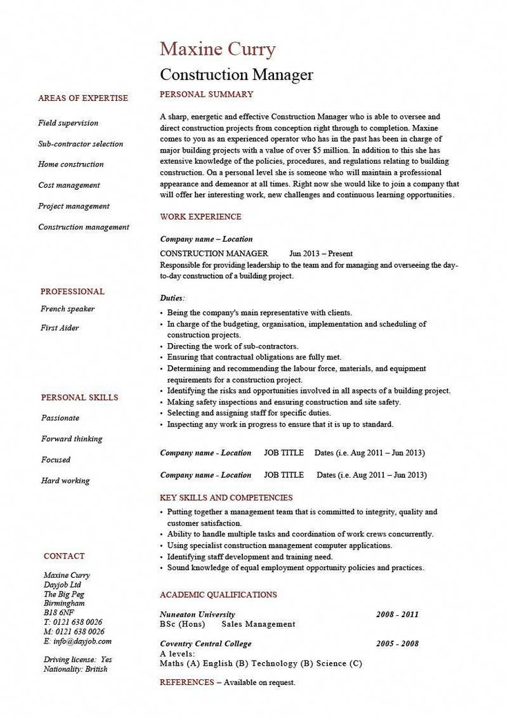 Construction manager cv example resume template