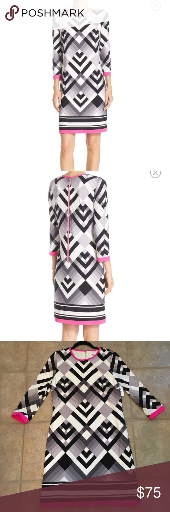 """NWT Eliza J geo patterned jersey shift dress NWT Eliza J geo patterned jersey shift dress. Size 6. Beautiful 2/3 sleeve dress in black, ivory, grey and a pop of pink trim. Back gold exposed zipper. Length measurement from center back = 35.5"""" (1st pics are stock photos from Nordstrom site) Eliza J Dresses"""
