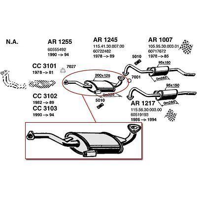 Ansa Muffler New Oval Alfa Romeo Spider 1978-1989 AR1245 #Motors #Parts #Accessories #AR1245