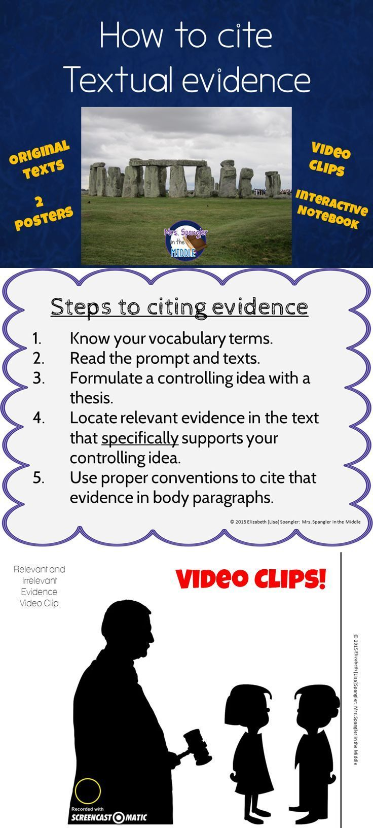 Teach students how to cite textual evidence in 5 steps with interactive notebook foldables, video clips and more! $
