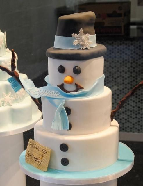 Google Image Result for http://www.cakepicturegallery.com/d/19875-2/Frosty%2Bthe%2BSnowman%2B3%2Btier%2Bwhite%2Bfirst%2Bbirthday%2Bcake.JPG