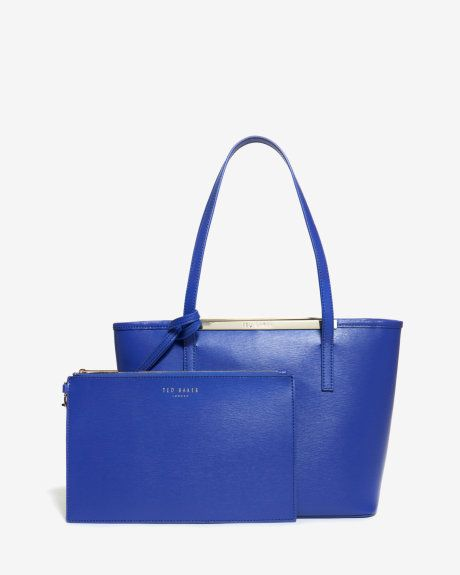 Small crosshatch leather shopper bag - Blue | Bags | Ted Baker ROW