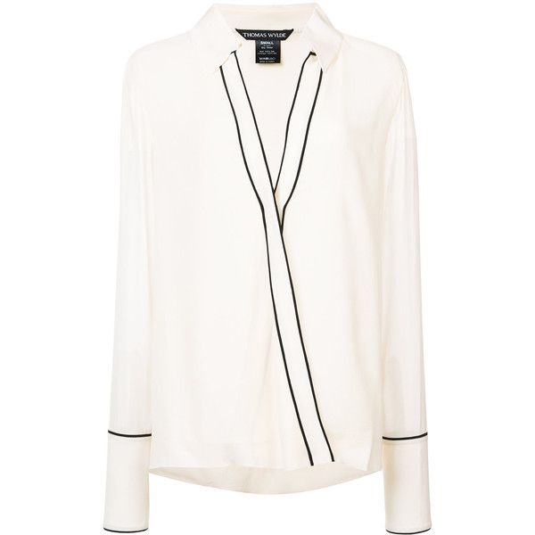 Thomas Wylde Perfection blouse ($875) ❤ liked on Polyvore featuring tops, blouses, long sleeve tops, white top, deep v neck top, low v neck tops and white silk top