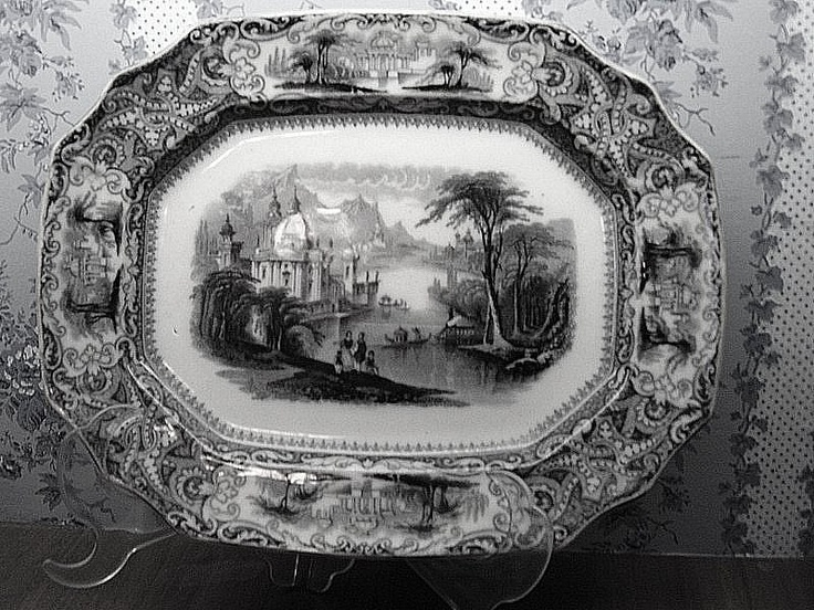 Mulberry Transferware , Rhone Scenery,Mayer