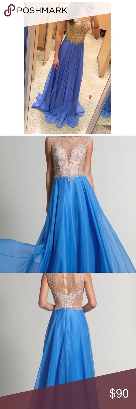 NWT prom dress// Bought it for m senior year prom but never wore it. NWT. There is a small stain pictured and a little dirty in one part but it's at the very bottom and you can't see it unless you look for it and it will come off. Price firm. From Dave and johnny online for $343 bought it for $440. Tagged as Sherri hill for views Sherri Hill Dresses Prom
