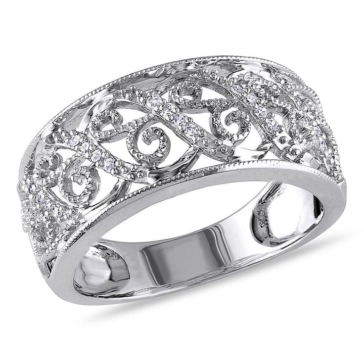 Delmar Jewelers 14K White Gold 0.1ctw White Diamond Scrolled Wide Band Ring