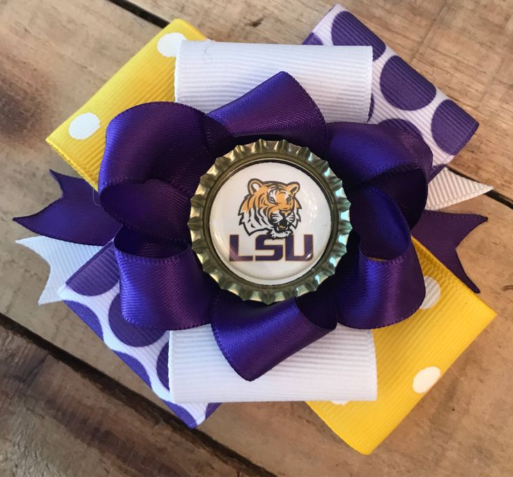 A personal favorite from my Etsy shop https://www.etsy.com/listing/546569365/lsu-bow