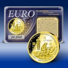 """5 Euro Gedenkmünze Malta """"100. Jahrestag Beginn Erster Weltkrieg"""""""