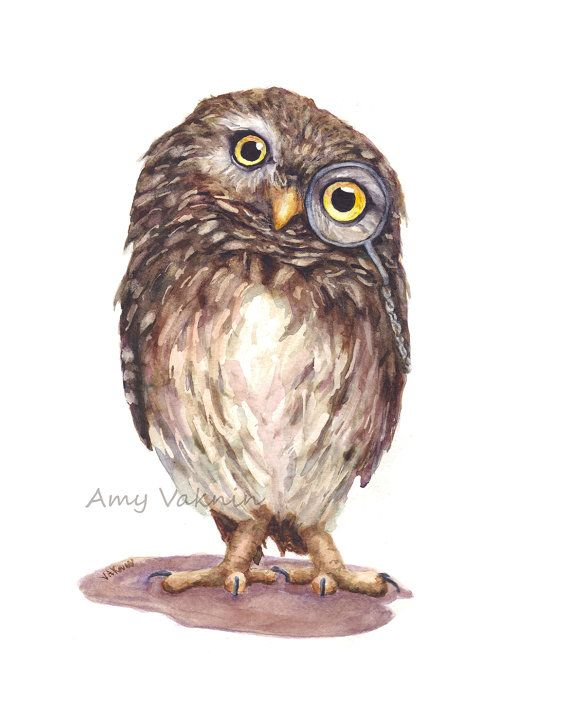 Impression de Mr.Wise Guy  8 x 10 chouette aquarelle par AmyVaknin, $16.00