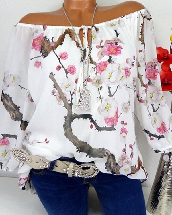 202d83cc8ee8b3 Floral Boat Neckline Long Sleeve Blouses | Shopping in 2019 | Shirt blouses,  Plus size blouses, Blouses for women