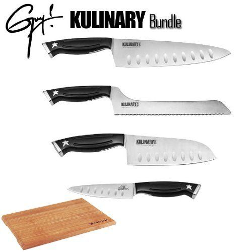 Guy Fieri's Kulinary Series 5 Piece Knife Set With Wustoff Cutting Board by Guy Fieri. $124.95. Guy Fieri is a professional chef, restaurant owner and tv personality. The knife maker, ergo chef, is renowned for superior quality and design.  This Set Includes:  1) Guy Fieri Kulinary Series Chef Knife, 8-Inch  2) Guy Fieri Kulinary Series Santoku Knife, 5-1/2-Inch  3) Guy Fieri Kulinary Series Serrated Bread Knife, 8-Inch  4) Guy Fieri Kulinary Series Paring Knif...