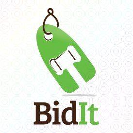 Exclusive Customizable Bid Hammer Logo For Sale: Bid It | StockLogos.com