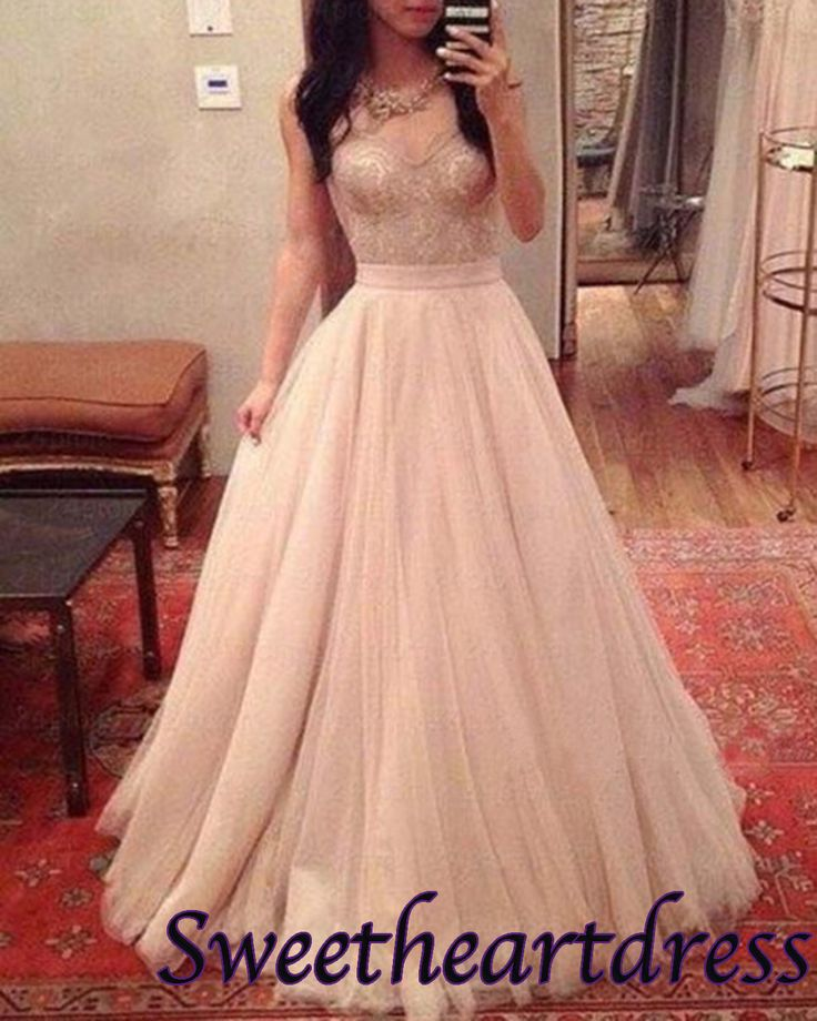Modest prom dress,pretty creamy tulle a-line prom dress for teens #coniefox #2016prom