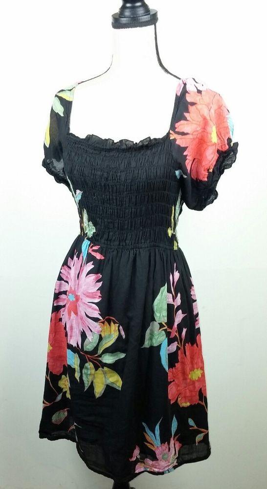 21c24a5fc7ae Blue Plate Women s 2X Dress Coverup Black Floral Tropical Babydoll Peasant  Beach