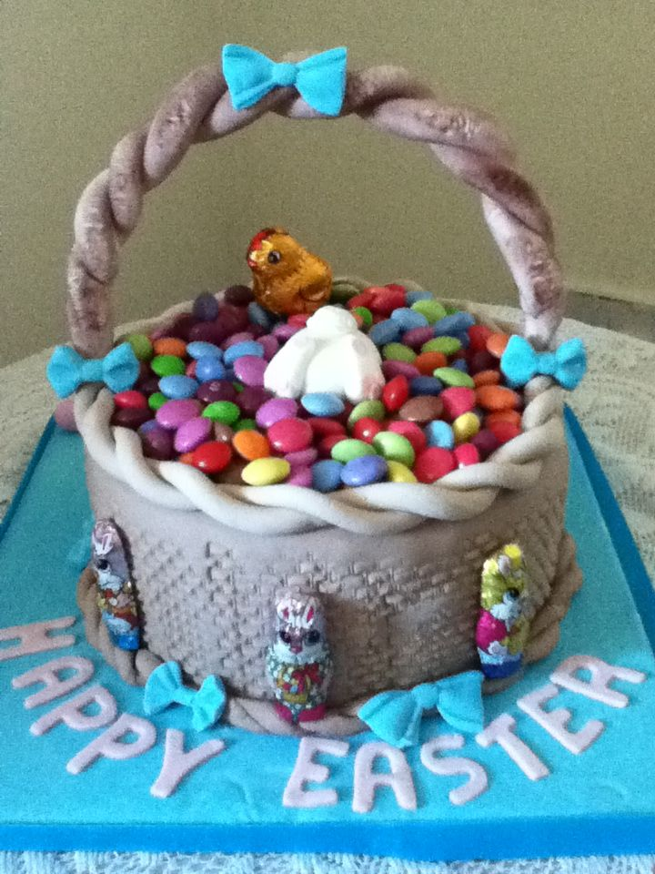 Easter basket chocolate biscuit cake with sweets easter bunnies & easter chicks